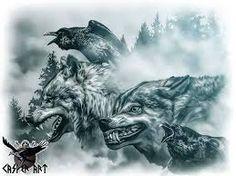 odins wölfe geri und freki....
