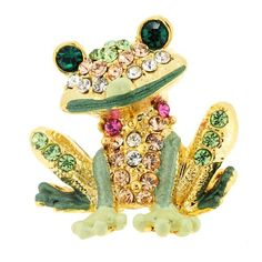 Green Frog Tag Pin Swarovski Crystal Animal Pin Brooch by Fantasyard
