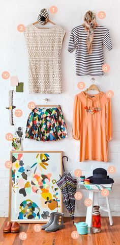 Kirra Jamison's wardrobe on The Design Files. Love the styling and the items (especially 2 and 6).