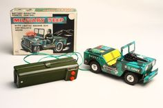 Vintage Marx Battery Operated Military Jeep Tin Toy NM w/ Box #Marx