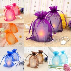 inexpensive weddings in purple and orange, aqua blue and green | 100 Pieces Sheer Organza Wedding Party Favor Decoration Gift Candy ...