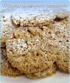 GALLETAS DE AVENA Y AMARANTO Delicious Vegan Recipes, Raw Food Recipes, Sweet Recipes, Delicious Desserts, Yummy Food, Healthy Cookies, Healthy Sweets, Healthy Food, Super Cookies