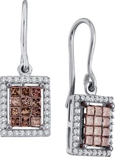 1.00CT Chocolate Brown/White Diamond 14K White Gold Invisible Earrings