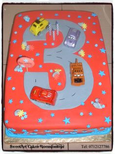 Cars Cake SweetArt Cakes Bloemfontein for all your cake & cupcake needs.  (Workshops available)  For more info & orders email sweetartbfn@gmail.com or call 0712127786. Cupcake Toppers, Cupcake Cakes, Disney Cars Cake, Car Workshop, Sweetarts, Lightning Mcqueen, Birthday Cakes, Planes, Trains