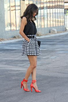 black and white mini skirt with red alexander wang shoes. street style mini skirt www.diversecitystyle.com