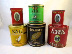Tobacco Tin Collection 6 Metal Tins Green Gold Sail, 2 Prince Albert, Granger, Union Leader Tins Instant Collection Tobacciana Canisters