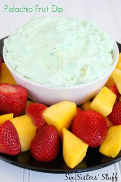 Delicious 3 ingredient Pistachio Fruit Dip for your St. Dip Recipes, Fruit Recipes, Dessert Recipes, Crab Recipes, Dessert Sauces, Paleo Recipes, Yummy Recipes, Snack Recipes, Blueberry Quick Bread