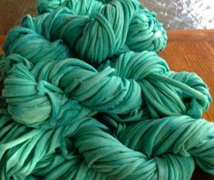 diy:  dyeing t-shirt yarn.  (also, link to good guide on making t-shirt yarn)