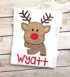 Boys christmas reindeer embroidered shirt or by katiediditcrafts