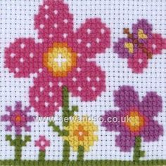 "Sarah 1st Cross Stitch Kit, 4"" x 4"" (10cm x 10cm), 9 count Aida fabric and Anchor soft cottons"