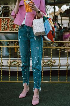 Pink cropped jacket, pearl embellishes mom jeans, pink mules, white straw bag, micro sunglasses, andreea birsan, couturezilla, cute spring outfit ideas 2018, pink dehim jacket, pink jacket, cotton jacket, how to wear double denim like a fashion blogger, canadian tuxedo how to, white cami top, spaghetti straps top, camisole, how to wear a camisole, the zara sold out pearl embellished mom jeans, step hem mom jeans, pearl jeans, pearl denim, pearled jeans, the best jeans with pearls, pink suede