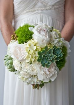 Botanical bouquet in shades of green and white