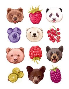 A super fun illustration of bears and berries. Cuddly, furry bears and sweet, juicy berries to keep you company - why not! The printed image Art And Illustration, Art Mignon, Motifs Animal, Cute Art, Art Drawings, Fine Art Prints, Character Design, Cute Animals, Artsy
