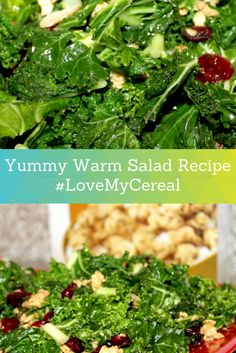 Yummy Warm Kale Salad Recipe. This is the perfect comfort food for a cold winter day. - Rattles & Heels #LoveMyCereal #QuakerUp #spon