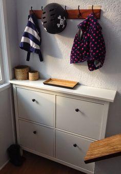 Split entryway, bi level entry ideas, IKEA Hemnes shoe cabinet