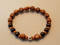 Men's Black & Cube-shaped Brown Wood Cross Stretch Bracelet by SoFineDesigns…