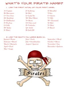 We have our pirate party coming up this Friday in celebration of International Talk Like a Pirate Day (Sept 19). As I was planning our party I kept finding fun pirate name generators- but I never found one that was really kid friendly…So I made my own! Feel free to use this in your own … … Continue reading →