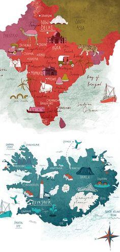 Map: India, Iceland.