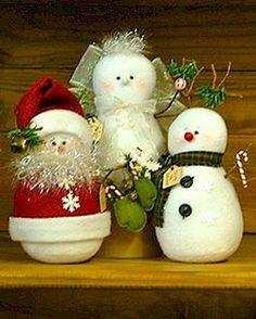 Make-Believe Snowmen, Santa, Reindeer & Angel - Wool Felt, Felt Appliqué Countryside Craft PATTERN