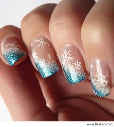 Winter nails with white and blue - BeaLady.net