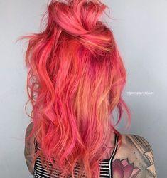 24 Blorange Hair Color Ideas - New Site Bright Hair Colors, Hair Dye Colors, Cool Hair Color, Bright Coloured Hair, Vivid Hair Color, Colourful Hair, Colours, Colored Hair, Coral Hair