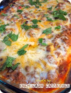 Cheesy Enchilada Casserole. Use shredded beef, pork, or chicken or just ground beef.