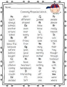 Commonly Misspelled Words Handout! FREE!   Daily 5 Word Work   Pinter…