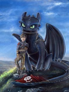 """How to Train Your Dragon 2 Art! Official DreamWorks licensed art. http://artbyadrianna.storenvy.com Toothless and Hiccup- """"Buddies"""""""