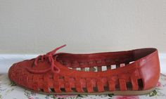 Vintage 1980s Red Woven Leather Flats / 80s Red by BasyaBerkman