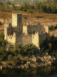 The medieval Templar Castle of Almourol is located on a small island in the Tagus River, Portugal