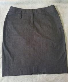 Ann Taylor Loft Straight Pencil Skirt Dark wash blue front pockets size 4 career #AnnTaylorLOFT #StraightPencil