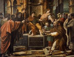 The Conversion of the Proconsul. Painting by Raphael, 1515. (Elymas the Magician is struck blind before Sergius Paulus.)
