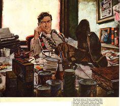 Illustration by Albert Dorne Art And Illustration, American Illustration, Retro Art, Vintage Art, Cover Art, Detective, Pulp Art, Office Art, Famous Artists