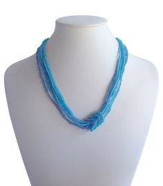 Love Knot Mix Blues A$19.50 Turquoise Necklace, Beaded Necklace, Knot, Blues, Artisan, Jewelry Making, India, Accessories, Collection