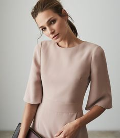 Shop our stylish contemporary womenswear ran Reiss Dresses, Wrap Front Dress, Iconic Dresses, Dress Collection, Trendy Outfits, High Fashion, Women Wear, High Neck Dress, Clothes For Women