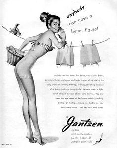 1950. Much like their famous swimwear ads, Jantzen's girdle ads were considered quite racy for the time period.