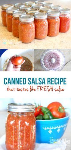Canned Salsa Recipe that Tastes Like FRESH Salsa Canned Salsa Rezept, das schmeckt wie frische Salsa – The Creative Mom Recipes (Visited 1 times, 1 visits today) Salsa Canning Recipes, Canning Salsa, Canning Tips, Mexican Salsa Recipes, Canning Tomatoes, Jelly Recipes, Salad Recipes, Fresh Tomato Recipes, Fresh Tomato Salsa Recipe For Canning