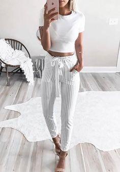 White Striped Belt Pockets Elastic Waist High Waisted Fashion Long Pants 4976d3043fa