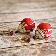 Colorful light fiber earrings, graphic fabric, vintage spirit, boho jewelry…