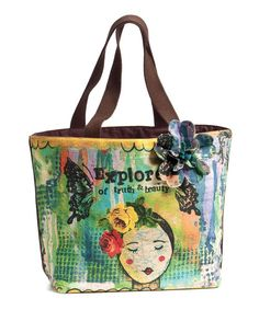 Inspirational words and lovely imagery combine with everyday practicality in this take-anywhere tote that will hold all the necessities and slip smoothly from work to weekend, for ultimate ease.
