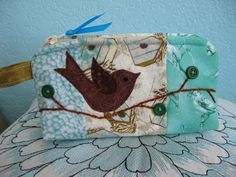 Bird Applique Cosmetic Bag by EileensExcessBaggage on Etsy, $18.00 -