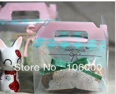 freeshipping Princess clear cake box, plastic cake container, muffin biscuit cookie gift box with handle, gift packaging $45.28