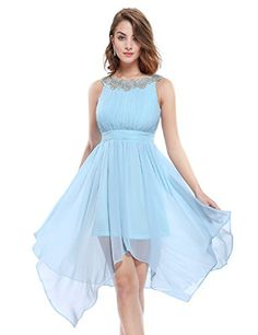 Ever Pretty Womens Round Neckline Ruched Bust Asymmetric Party Dress 05002 ** You can get additional details at the image link.