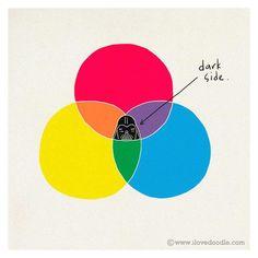 """Según la teoria del color asi llegamos al """"lado oscuro""""."""
