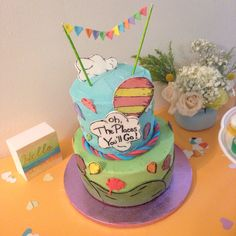 """Dr Seuss' """"Oh, The Places You'll Go!"""" Baby shower cake"""