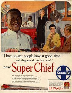 Rail travel. Santa Fe Super Chief (1951) advertisement