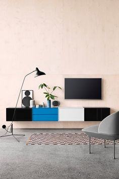 Montana wall mounted units by Peter J. Lassen from Montana Møble. Vinyl Record Storage, Lp Storage, Hide Cable Box, Montana Furniture, Pallet Tv Stands, Tv Stand Console, Neutral Color Scheme, Modern Design, Danish Design
