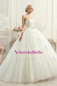 2016 vestidos de boda sin tirantes de tul con aplicaciones de tejido y tren de…