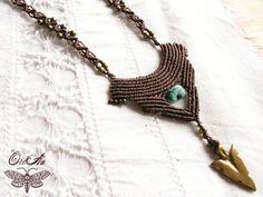 Macrame tribal necklace, brass, festival, Turquoise, crystal, boho, gypsy…