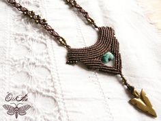 Macrame tribal necklace brass festival Turquoise by OriAnHeArt